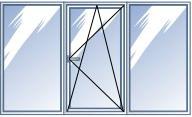 Окно пластиковое REHAU, деленое на 3 части с одним открыванием