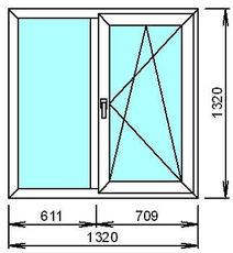 Двустворчатое окно Rehau70 с фурнитурой Maco.