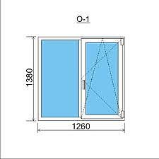 Двухстворчатое окно Rehau70 с фурнитурой WinkHaus autopilot. 1260x1380