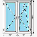 Двухстворчатое окно из профиля WDS-505, с фурнитурой Maco и однокамерным энергосберегающим стеклопакетом