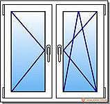 Двухстворчатое окно из профиля Hoffen, с фурнитурой Siegenia и двухкамерным стеклопакетом