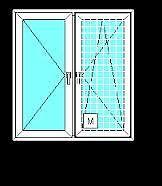 Двухстворчатое окно из профиля Fenster300, с фурнитурой Siegenia и однокамерный стеклопакетом