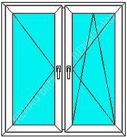 Двухстворчатое окно из профиля Fenster300, с фурнитурой Siegenia и двухкамерным энергосберегающим стеклопакетом