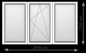 Трехчастное окно из профиля aluplast ideal 2000, фурнитурой Siegenia и однокамерным энергосберегающим стеклопакетом