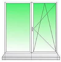 Двухчастное окно из профиля WDS-400, фурнитурой Siegenia и двухкамерным стеклопакетом