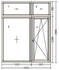 Окно с выходом на балкон 2900 х 2300. IV68 Меранти