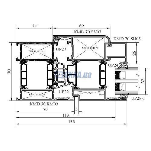 Центр Комплектации Фасадов KMD 70 профили.