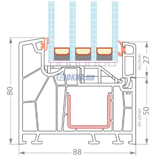 CKM Extrusion TITANIUM TITANIUM СК  88 профили.